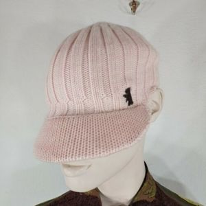 juicy couture knit light pink wool hat dog logo